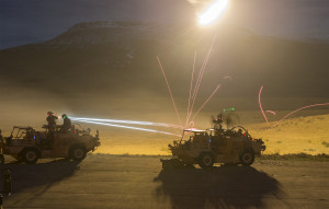 Supacat HMT400 Military Vehicles on the MoD Night Firing Exercise