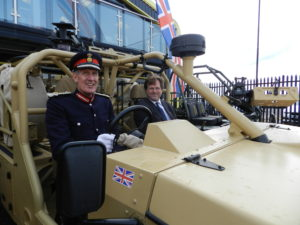 Lord Lieutenant of Devon and Nick Ames in a Supacat LRV600 vehicle