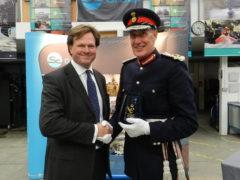 David Fursdon, Lord Lieutenant of Devon congratulates Nick Ames of Supacat and SC Group on the Award
