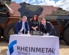 Supacat Managing Director Asia Pacific - Michael Halloran, Managing Director of Rheinmetall Defence Australia - Mr Gary Stewart and Minister for Defence Industry - Hon Melissa Price signing a certificate recognising our contribution to the delivery of the first BOXER Combat Reconnaissance Vehicle to the Commonwealth of